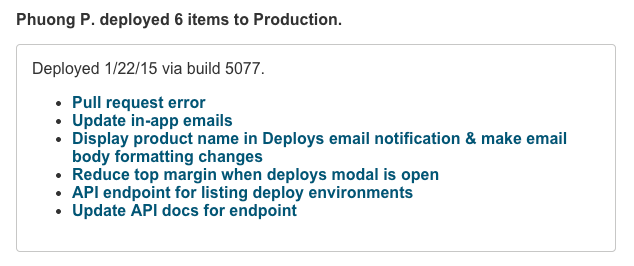 Deployed items email notification