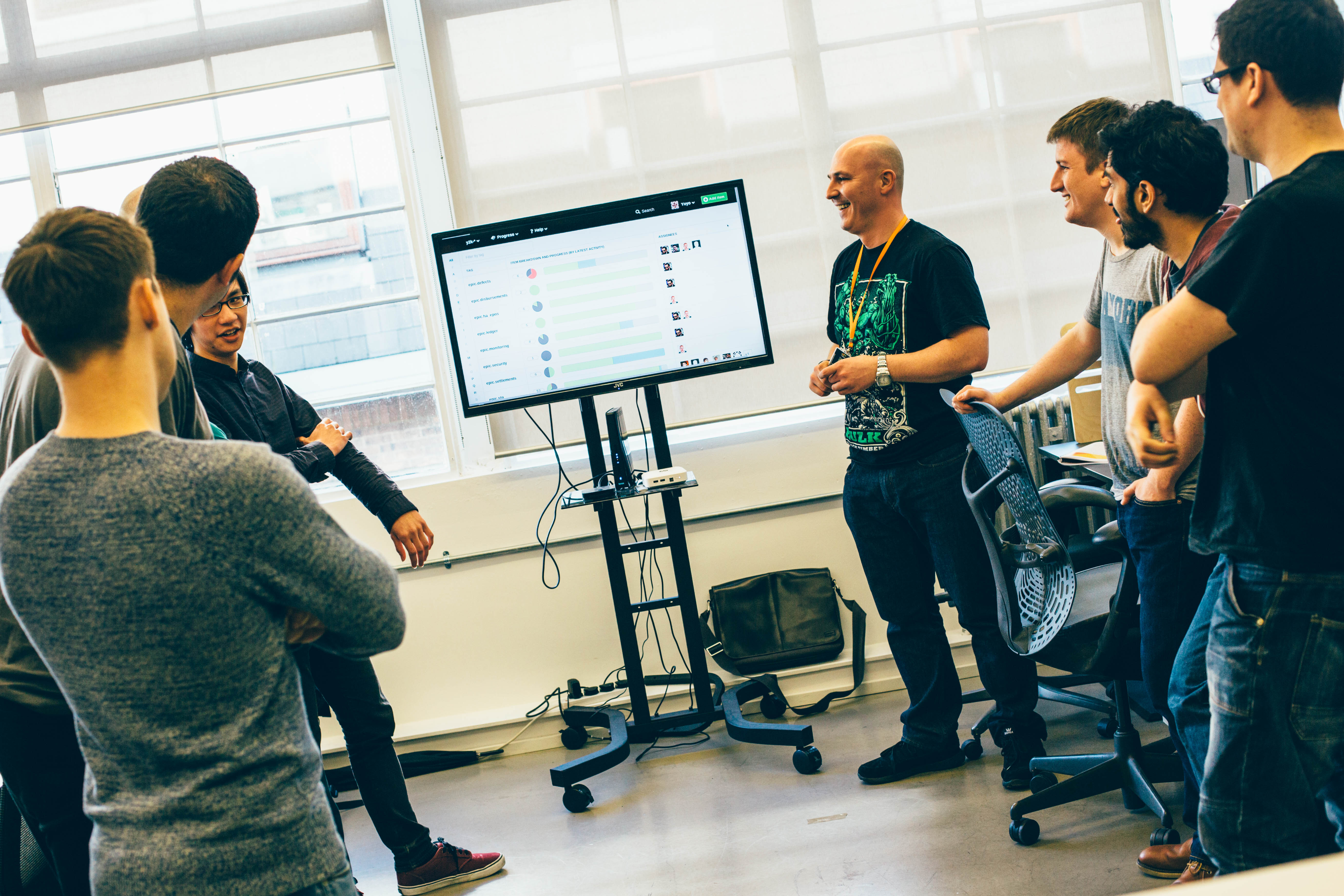 Yoyo Wallet engineering team daily stand-up with a big board