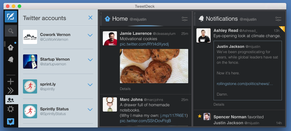 Tweetdeck is a desktop client for multiple Twitter accounts